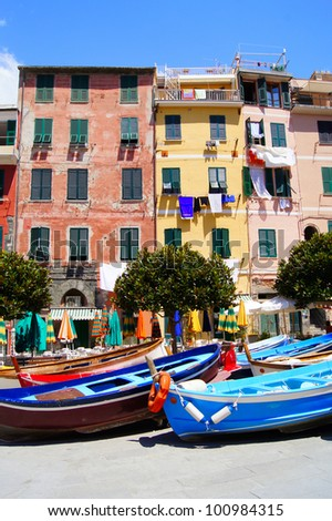 Colorful houses of Vernazza, Cinque Terre, Italy - stock photo