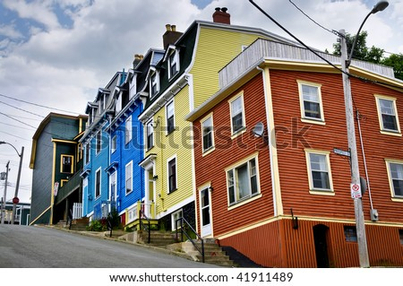 Colorful houses on hill in St. John's, Newfoundland, Canada - stock photo