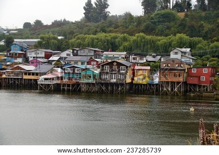 Colorful houses on stilts (palafitos) in Castro, Chiloe Island, Chile - stock photo
