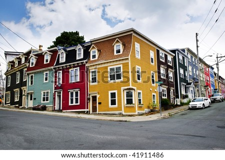 Colorful houses on street corner in St. John's, Newfoundland, Canada - stock photo