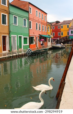 Colorful  houses on the Italian island of Burano showing bridge and geese on the canal - stock photo