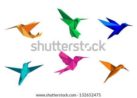 Colorful hummingbirds in origami paper style on white background. Vector version also available in gallery