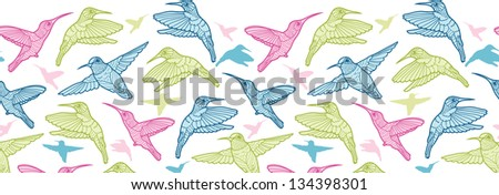 Colorful hummingbirds vector horizontal seamless pattern border raster - stock photo