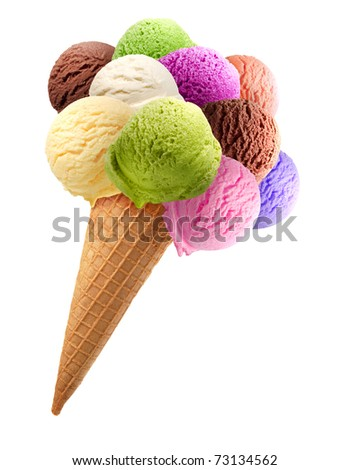 Colorful ice cream scoops on white background - stock photo