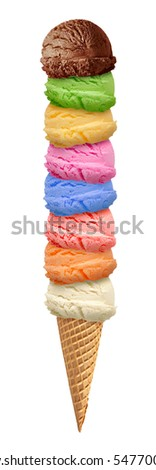 Colorful ice cream scoops with cone on white background