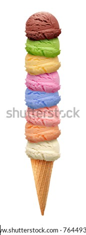 Colorful ice creams with cone on white background