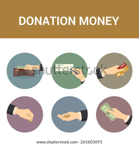 Colorful icons donations of money, illustration  - stock photo