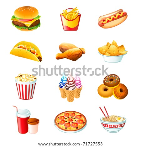 Colorful icons with fast food meals isolated - stock photo