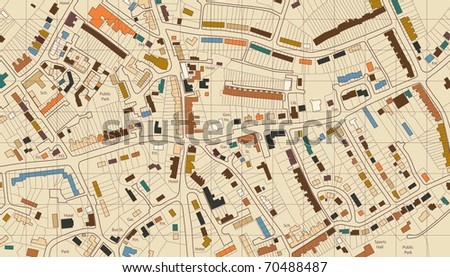 Colorful illustrated map of housing in a generic town - stock photo