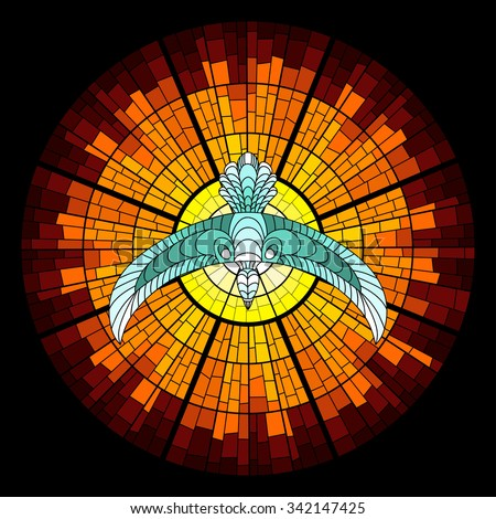 Colorful illustration background of pigeon and sun glow with rays. Stained glass window mosaic style. - stock photo