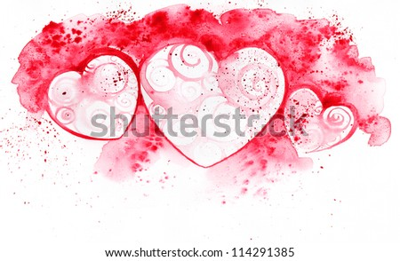 Colorful illustration of hearts in watercolor paintings - stock photo