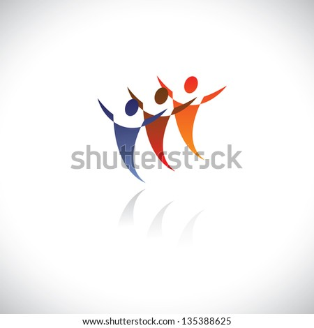 Colorful illustration of icons of people together being free. The graphic represents symbols/signs of people at office, or friends together, or children playing, dancers dancing, sports people, etc