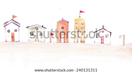 Colorful illustration of street. Watercolor background. Can be used for wallpaper. background. surface textures, pattern, pack, web page. Watercolor main street.  - stock photo