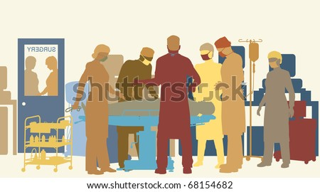 Colorful illustration of surgery in an operating theater - stock photo