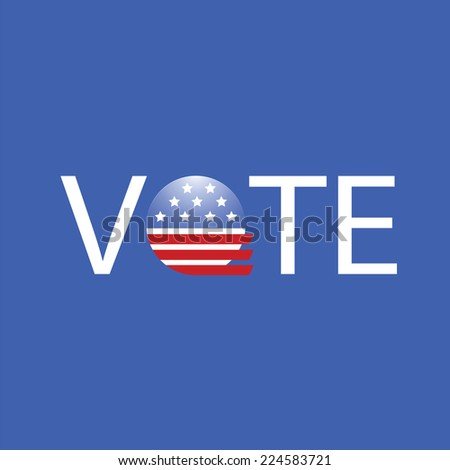 colorful illustration United States Election Vote Button on a blue background - stock photo