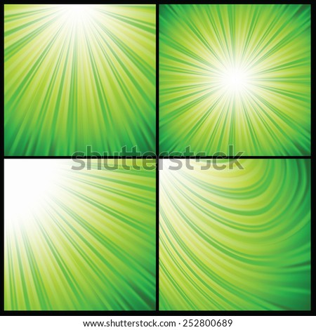colorful illustration  with abstract green rays  background - stock photo