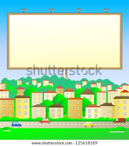 colorful illustration with billboard in city landscape - stock photo