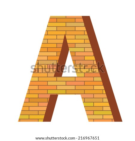 colorful illustration with brick letter A  on a white background