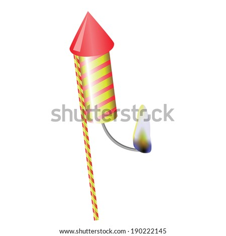 colorful illustration with firework on a white  background for your design - stock photo