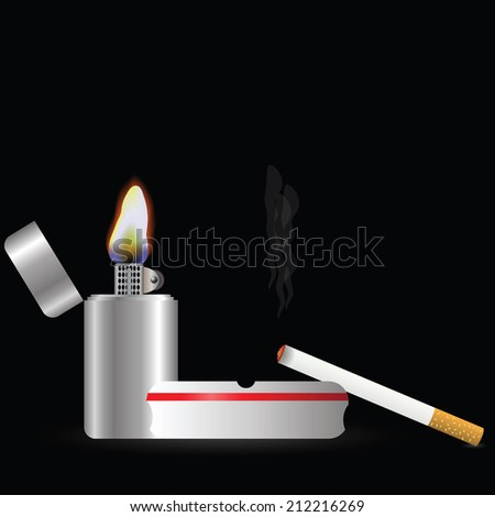 colorful illustration with  lighter and cigarette  on a dark background - stock photo