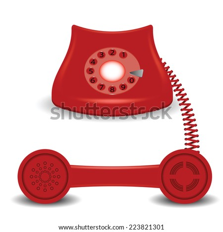 colorful illustration with  old red phone on a white background - stock photo