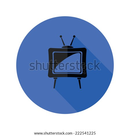colorful illustration with old TV icon on a white background - stock photo