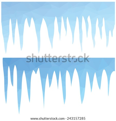 colorful illustration  with  polygonal blue icicles  on white background - stock photo