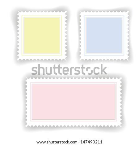 colorful illustration with postage  stamps for your design - stock photo