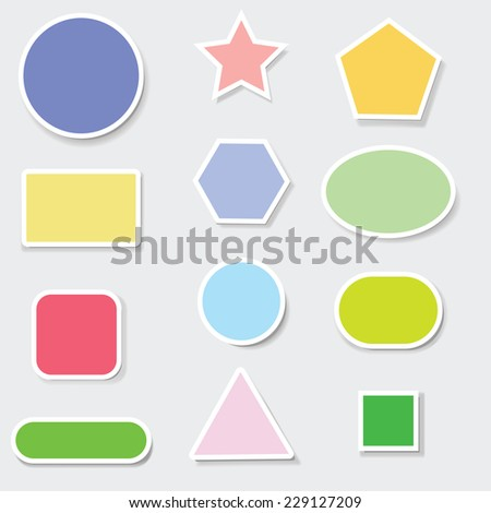 colorful illustration with set of paper labels on a grey  background - stock photo
