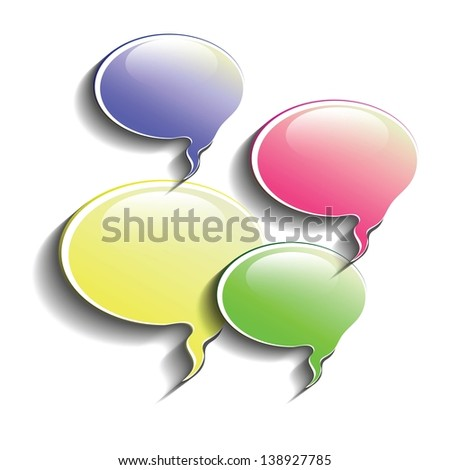 colorful illustration with speech bubbles for your design - stock photo