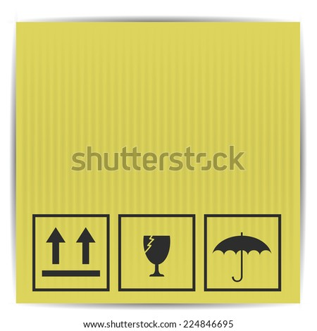 colorful illustration with symbols on paper box on a white background - stock photo