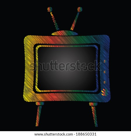 colorful illustration with television on a black background for your design - stock photo