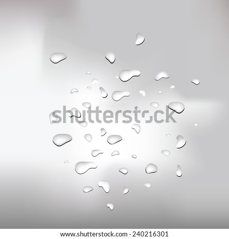 colorful illustration  with water drops on grey background - stock photo