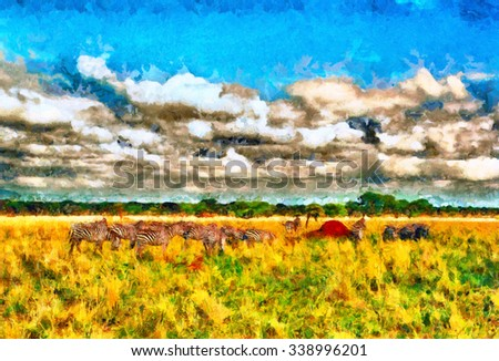 Colorful impressionist african landscape with troops of zebras oil painting - stock photo