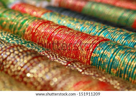 Colorful Indian bangles - stock photo