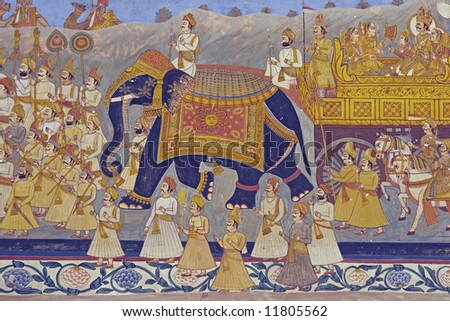 Colorful indian mural in the fort at Jodhpur showing a royal procession, including elephant and courtiers from the Rajput era - stock photo