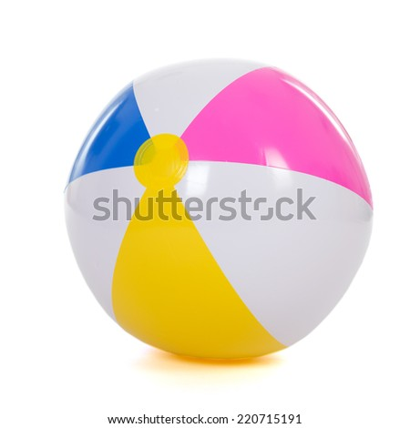 colorful inflatable beach ball isolated over white background - stock photo