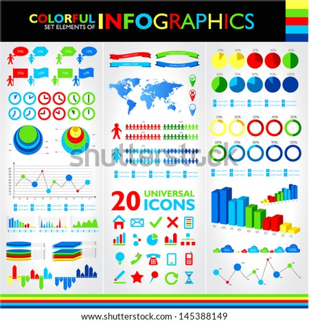Colorful infographics set and universal icons. Raster version. Vector version available in my portfolio
