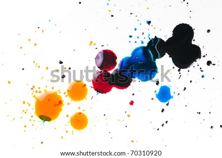 colorful ink blot on white