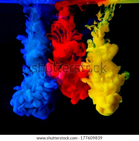 Colorful ink in water