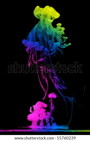 Colorful ink in water - stock photo