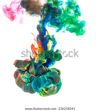 Colorful ink in water, abstract shape background. - stock photo