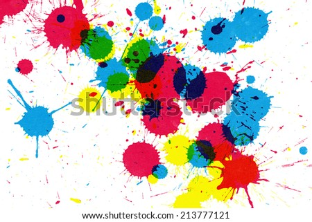 Colorful ink splatter on white paper - stock photo