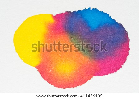 Colorful ink water color art abstract on white paper background - stock photo