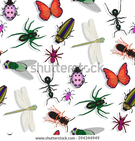 colorful insects pattern, abstract seamless texture, art illustration