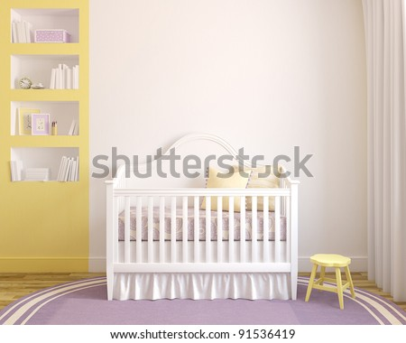 Colorful interior of nursery. Frontal view. 3d render. Pictures in frames was painted in photoshop by me. - stock photo