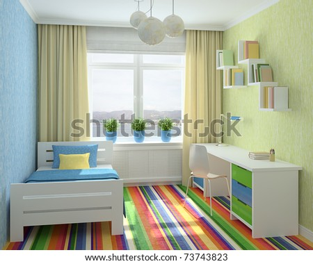 Colorful interior of playroom. 3d render. Photo behind the window was made by me. - stock photo