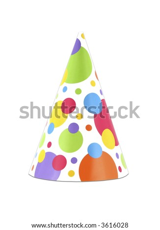Colorful isolated party hat with polka dots