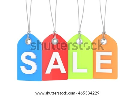 Colorful isolated sale labels on white background. Price tags. Special offer and promotion. Store discount. Shopping time. 3D rendering.