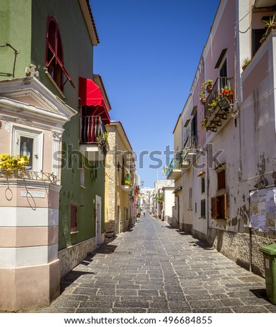 Colorful italian street on Procida Island, Italy